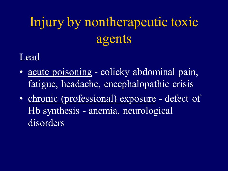 Injury by nontherapeutic toxic agents
