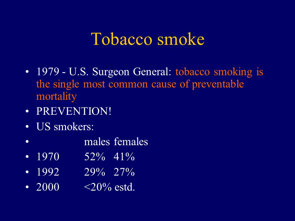 Tobacco smoke 1979 - U.S. Surgeon General: tobacco smoking is the single most common cause of preventable mortality.