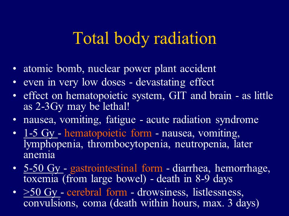 Total body radiation atomic bomb, nuclear power plant accident