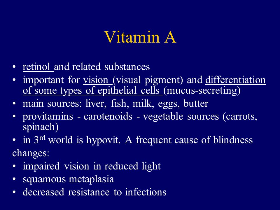 Vitamin A retinol and related substances