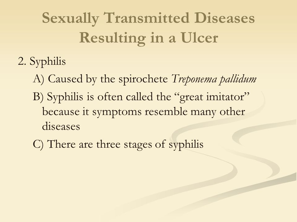 Sexually Transmitted Diseases Resulting in a Ulcer