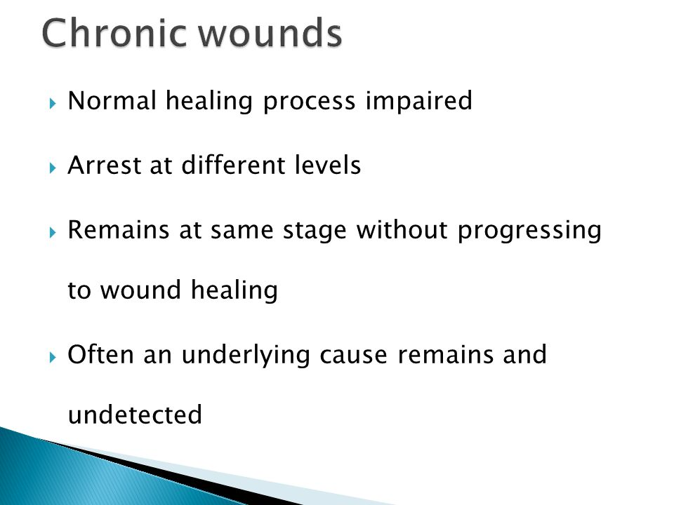 Chronic wounds Normal healing process impaired