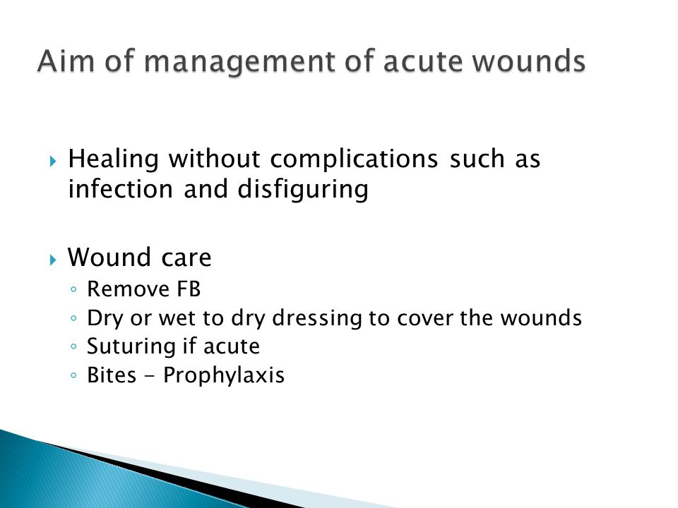 Aim of management of acute wounds