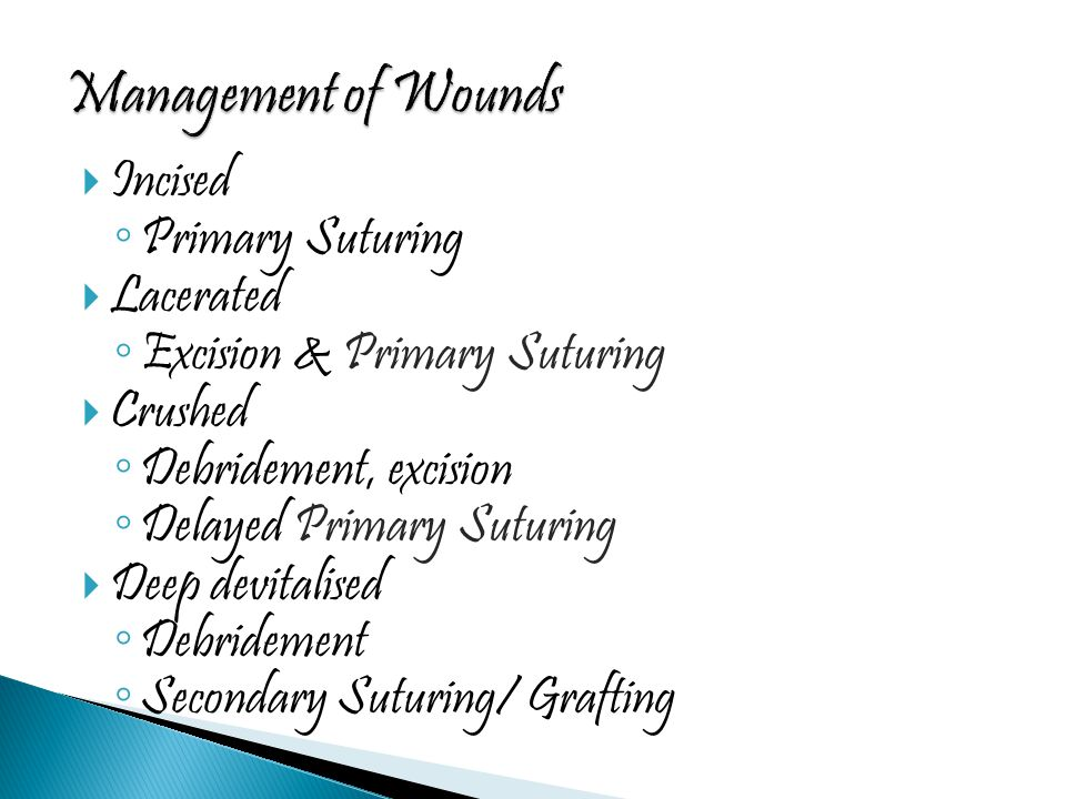 Management of Wounds Incised Primary Suturing Lacerated