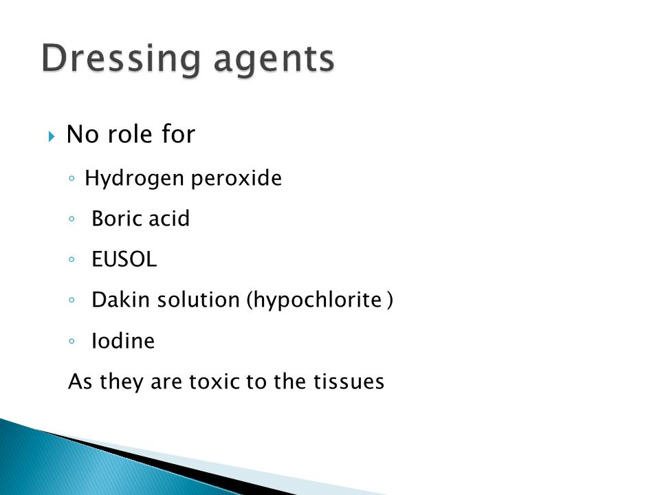 Dressing agents No role for Hydrogen peroxide Boric acid EUSOL