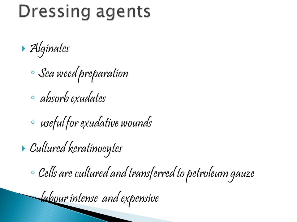 Dressing agents Alginates Sea weed preparation absorb exudates