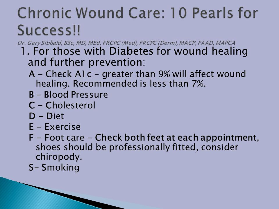 Chronic Wound Care: 10 Pearls for Success. Dr