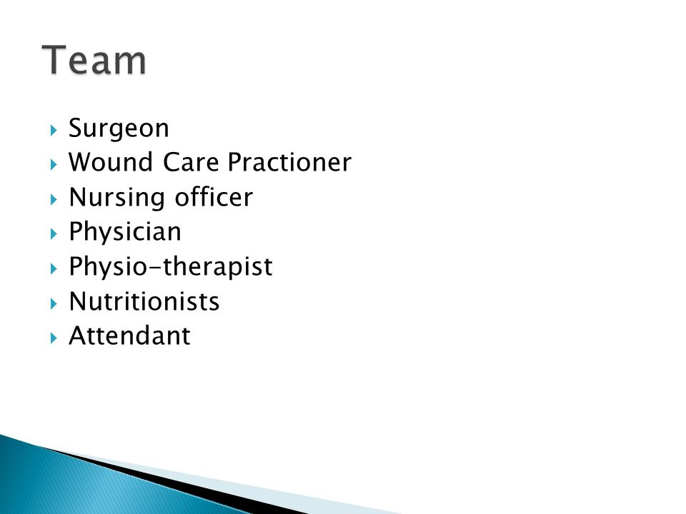 Team Surgeon Wound Care Practioner Nursing officer Physician