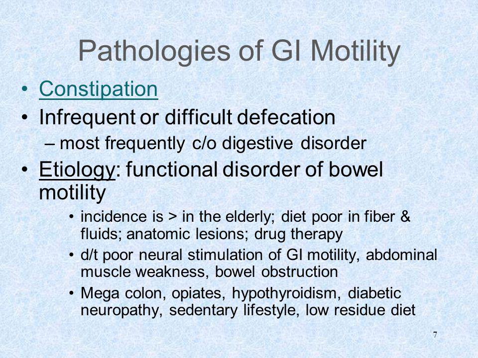Pathologies of GI Motility
