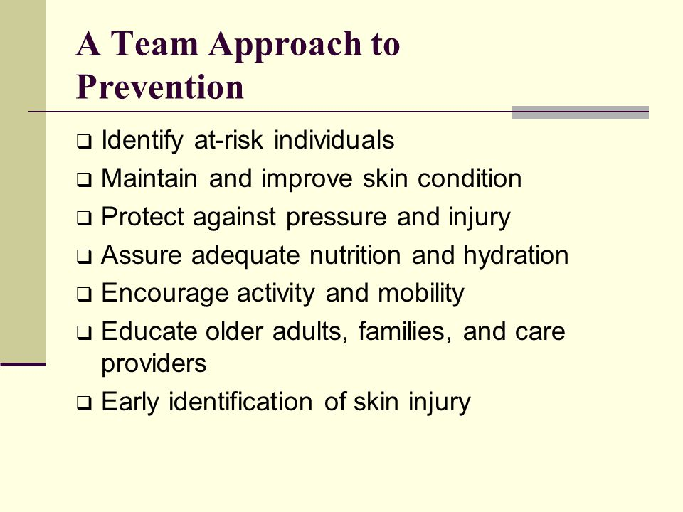 A Team Approach to Prevention