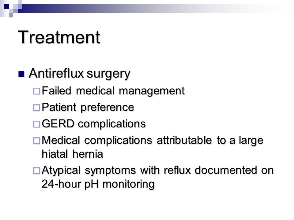 Treatment Antireflux surgery Failed medical management