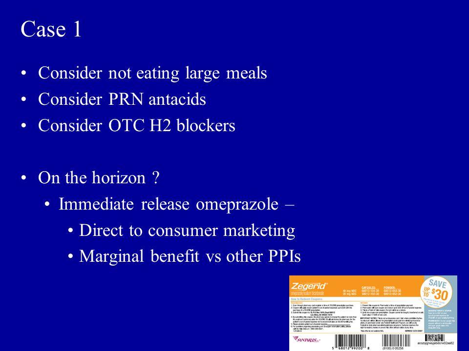 Case 1 Consider not eating large meals Consider PRN antacids