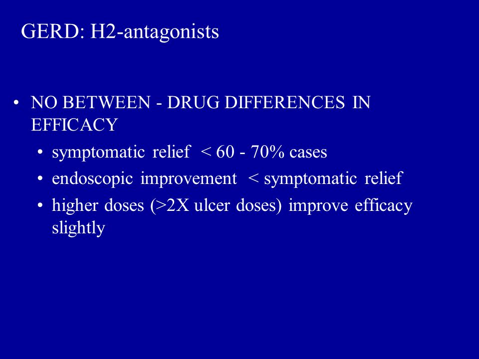 GERD: H2-antagonists NO BETWEEN - DRUG DIFFERENCES IN EFFICACY