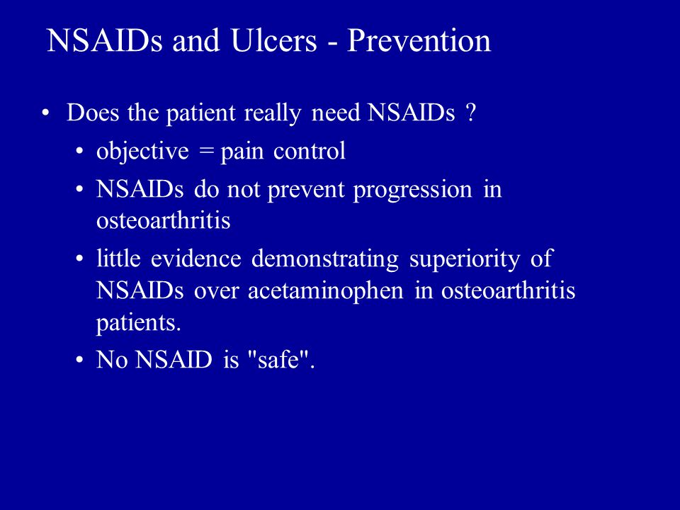 NSAIDs and Ulcers - Prevention