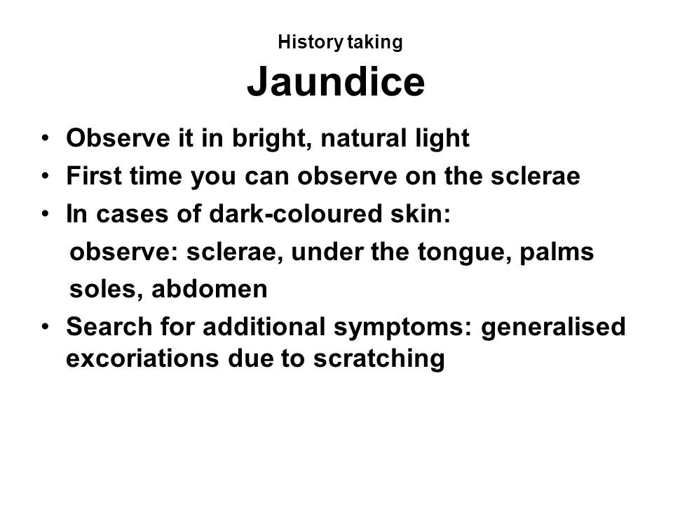 History taking Jaundice