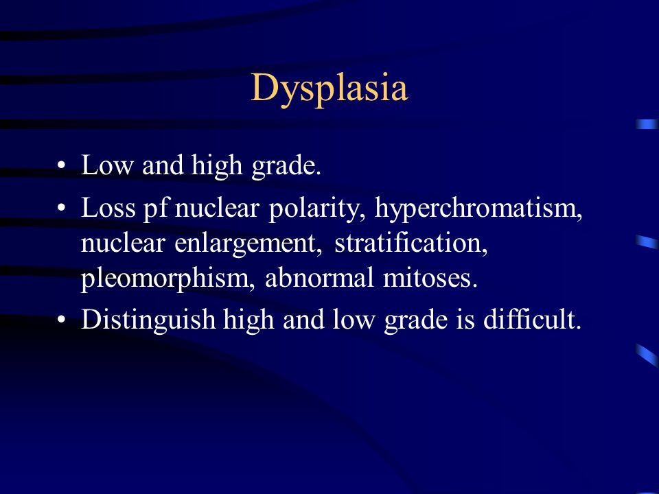 Dysplasia Low and high grade.