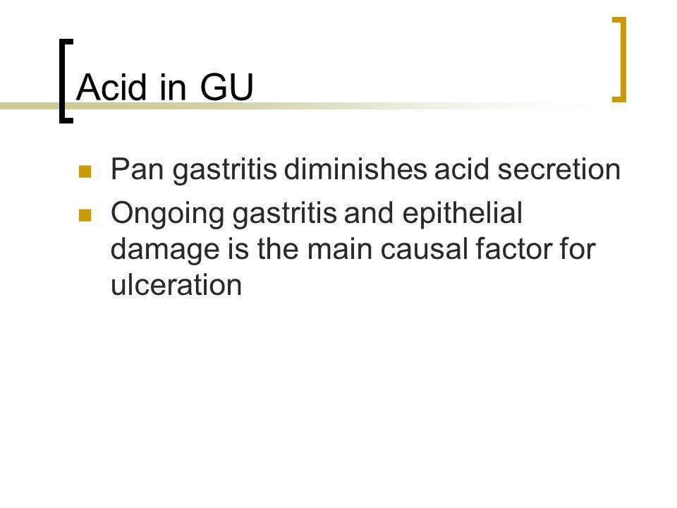 Acid in GU Pan gastritis diminishes acid secretion