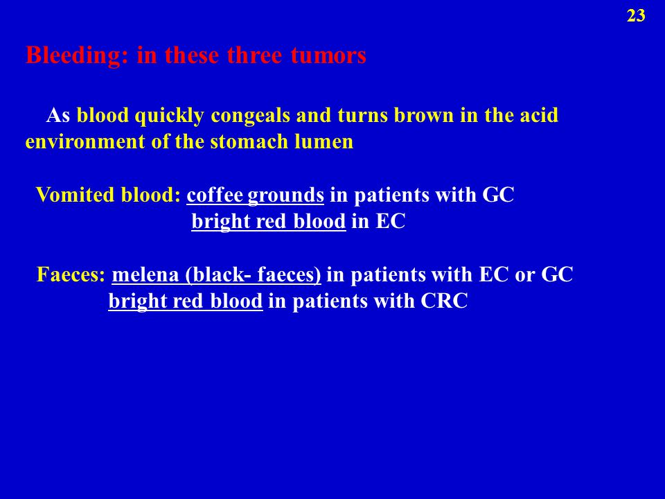 Bleeding: in these three tumors