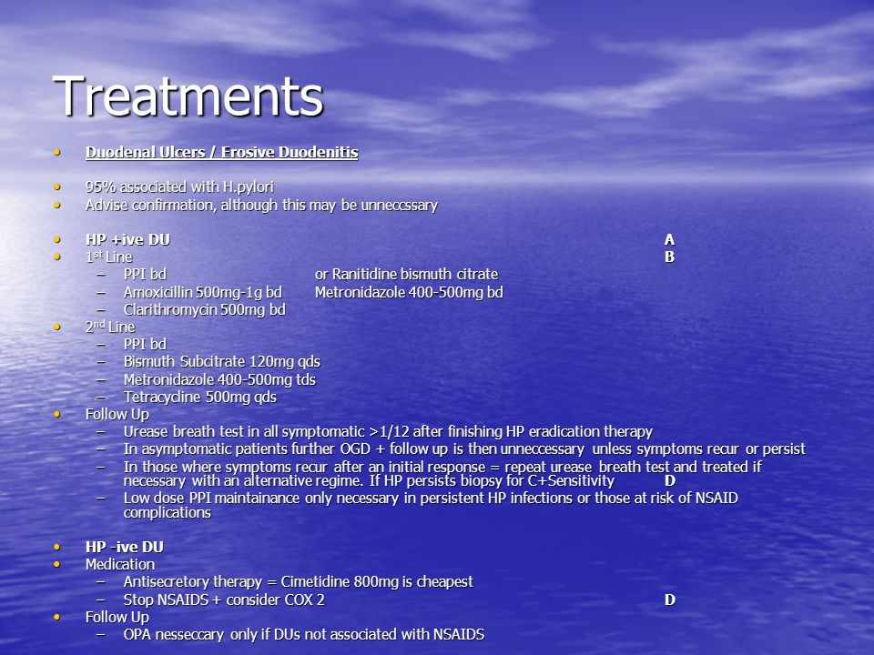 Treatments Duodenal Ulcers / Erosive Duodenitis