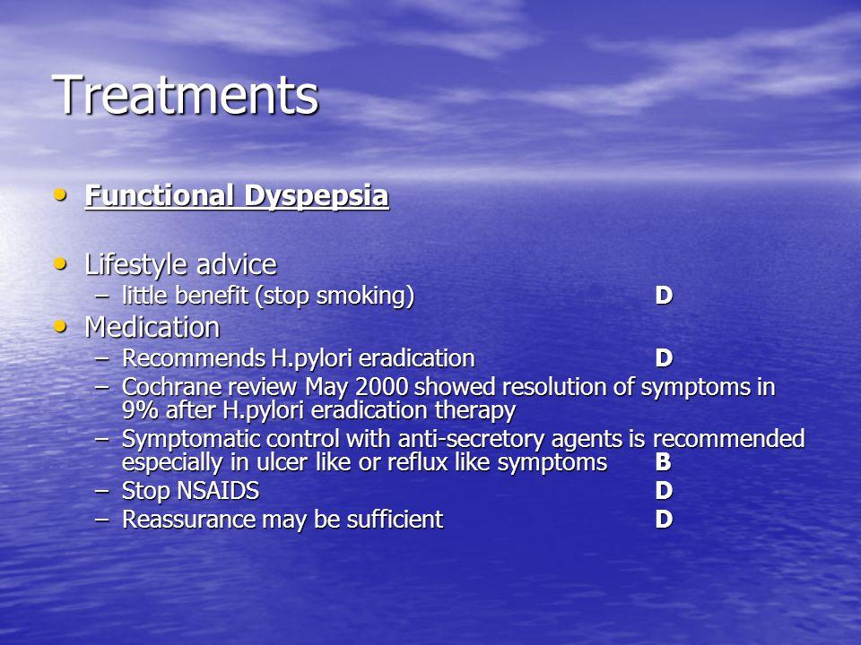 Treatments Functional Dyspepsia Lifestyle advice Medication