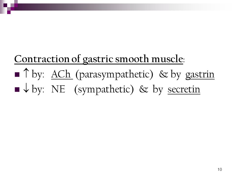 Contraction of gastric smooth muscle: