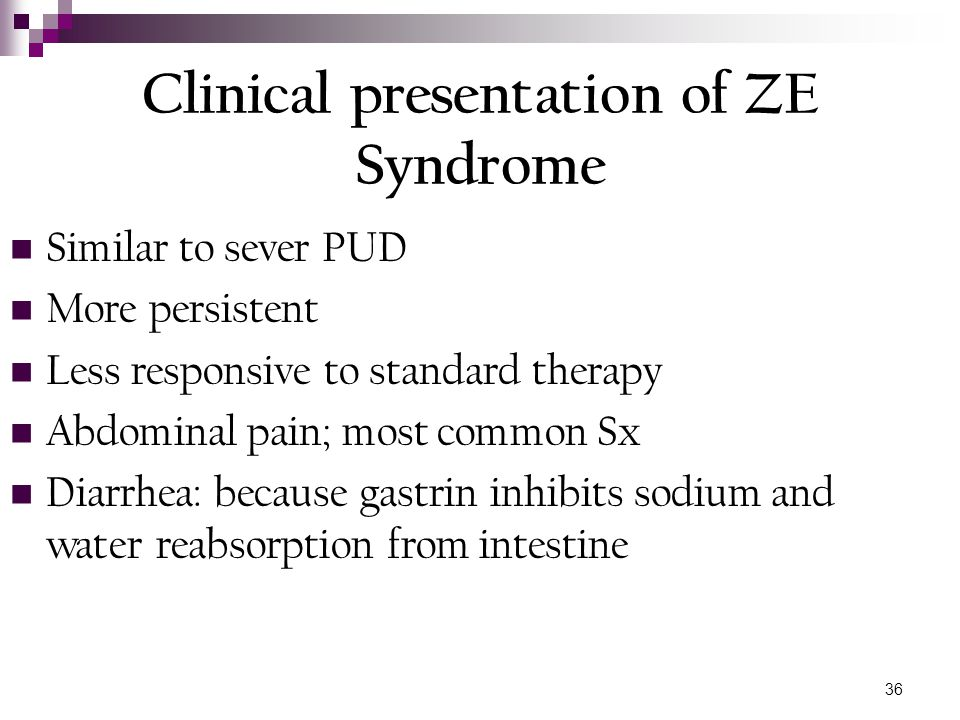 Clinical presentation of ZE Syndrome