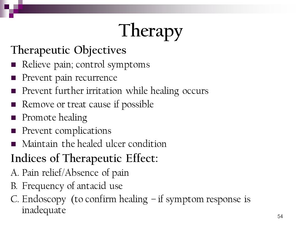 Therapy Therapeutic Objectives Indices of Therapeutic Effect: