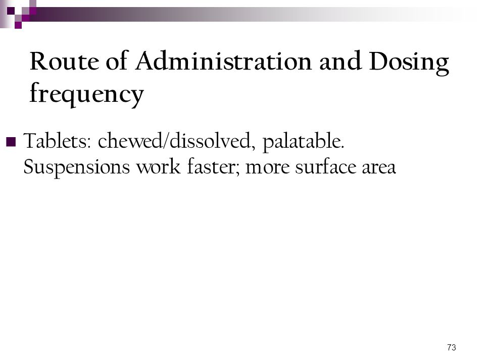 Route of Administration and Dosing frequency