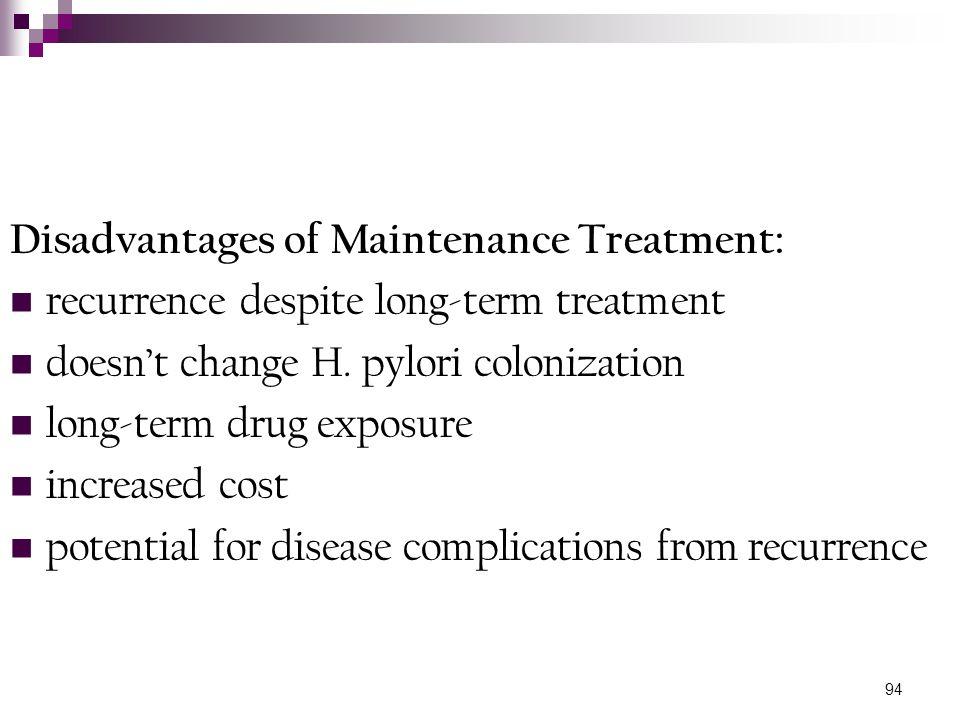 Disadvantages of Maintenance Treatment: