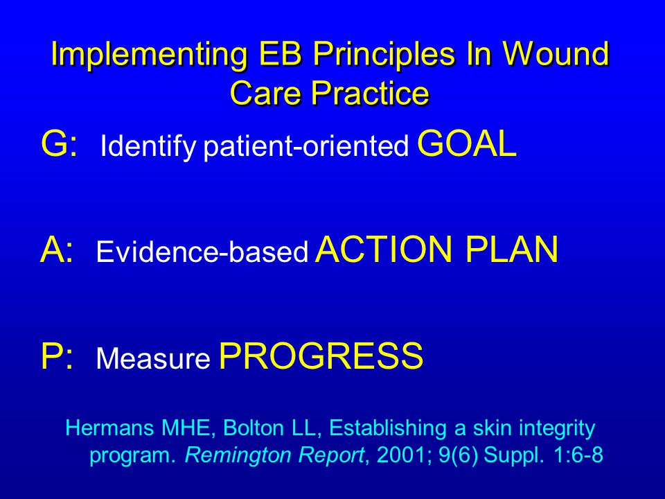 Implementing EB Principles In Wound Care Practice