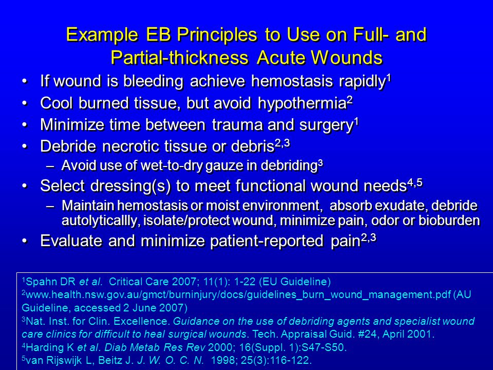 Example EB Principles to Use on Full- and Partial-thickness Acute Wounds