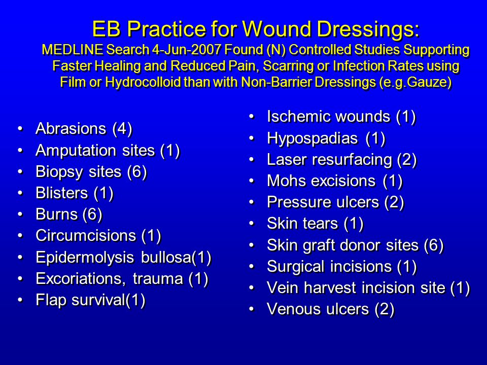 EB Practice for Wound Dressings: MEDLINE Search 4-Jun-2007 Found (N) Controlled Studies Supporting Faster Healing and Reduced Pain, Scarring or Infection Rates using Film or Hydrocolloid than with Non-Barrier Dressings (e.g.Gauze)