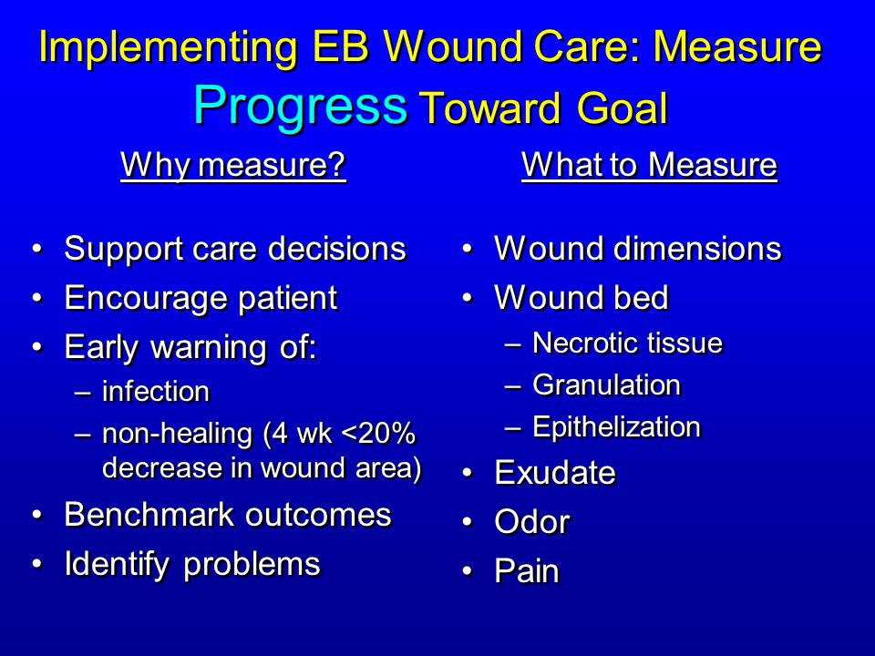 Implementing EB Wound Care: Measure Progress Toward Goal