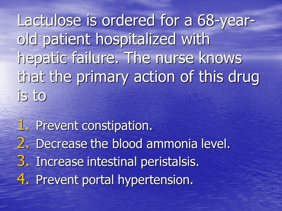 Lactulose is ordered for a 68-year-old patient hospitalized with hepatic failure. The nurse knows that the primary action of this drug is to