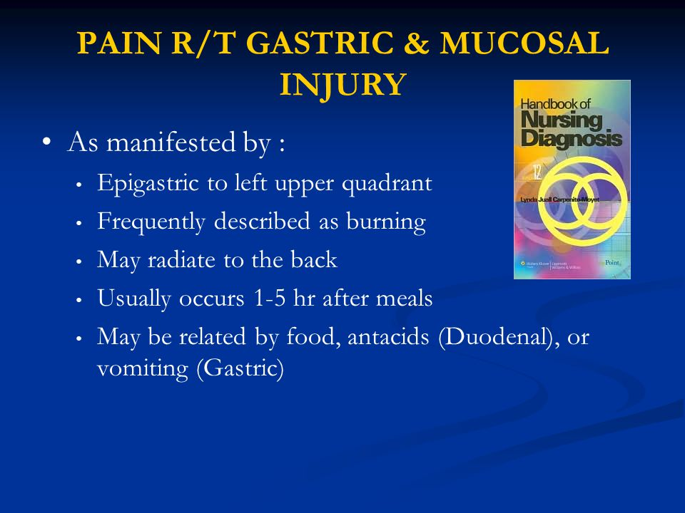 PAIN R/T GASTRIC & MUCOSAL INJURY