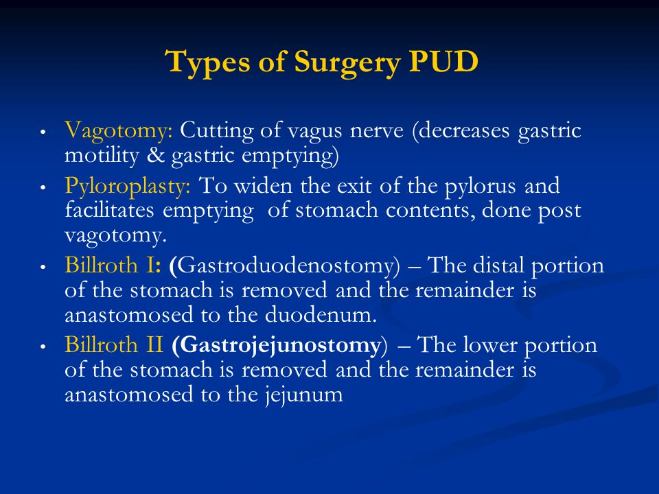 Types of Surgery PUD Vagotomy: Cutting of vagus nerve (decreases gastric motility & gastric emptying)