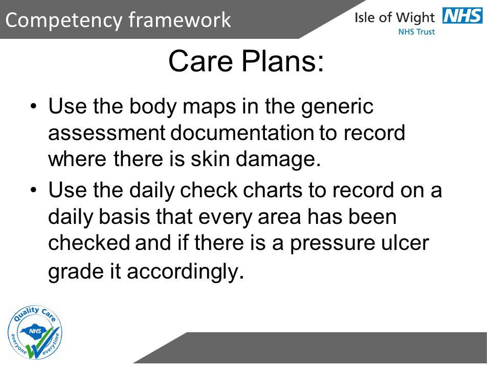 Care Plans: Competency framework