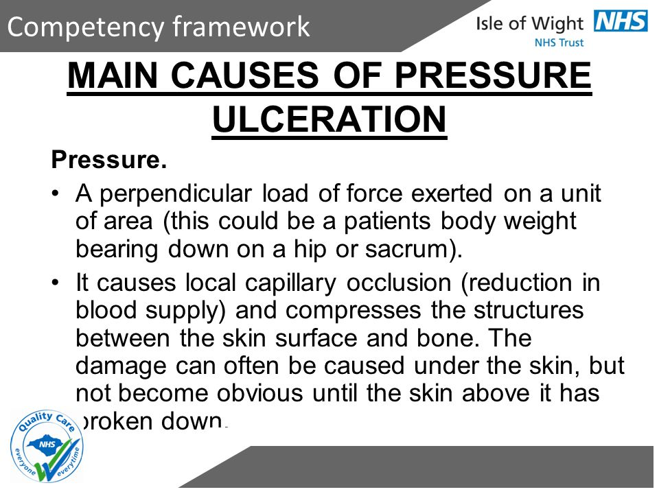 MAIN CAUSES OF PRESSURE ULCERATION