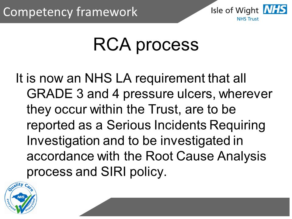 RCA process Competency framework