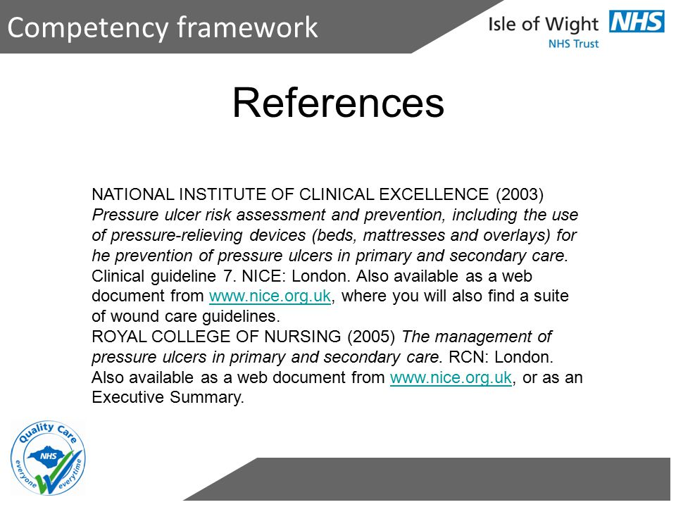References Competency framework