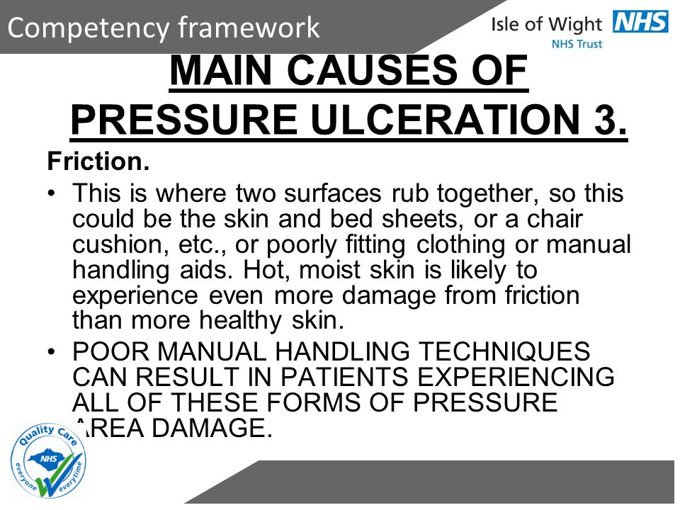 MAIN CAUSES OF PRESSURE ULCERATION 3.