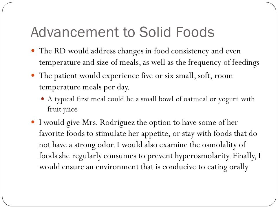Advancement to Solid Foods