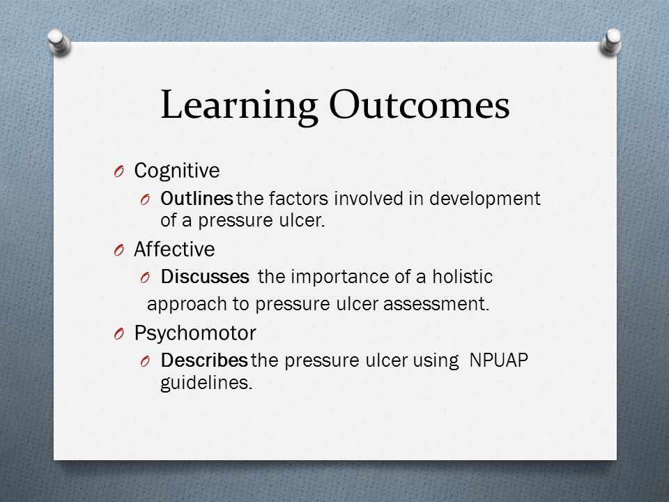 Learning Outcomes Cognitive Affective Psychomotor