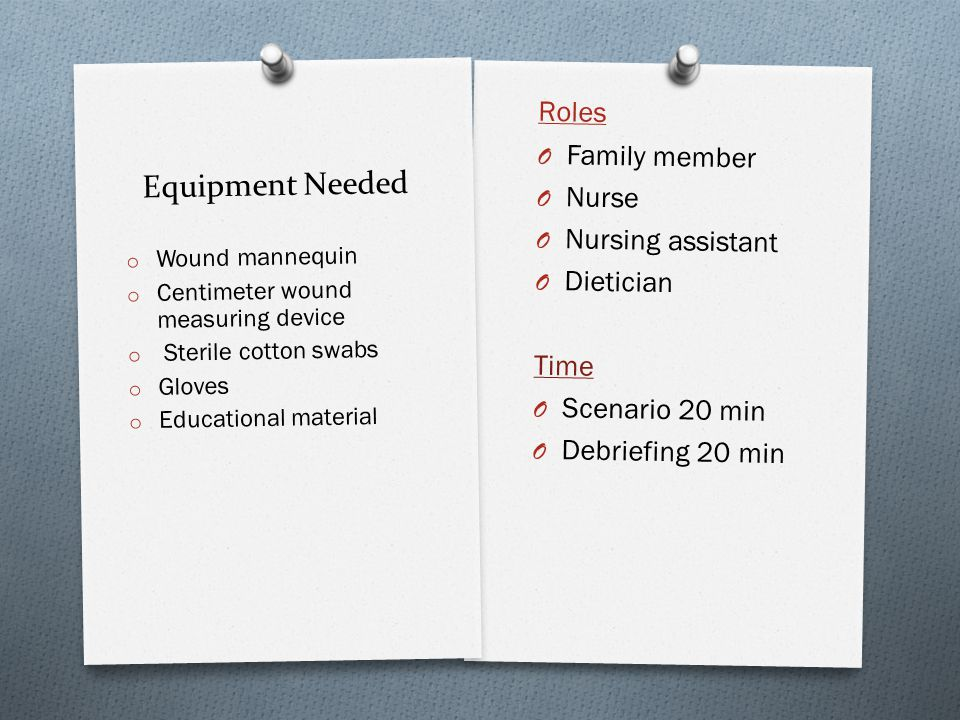 Equipment Needed Roles Family member Nurse Nursing assistant Dietician