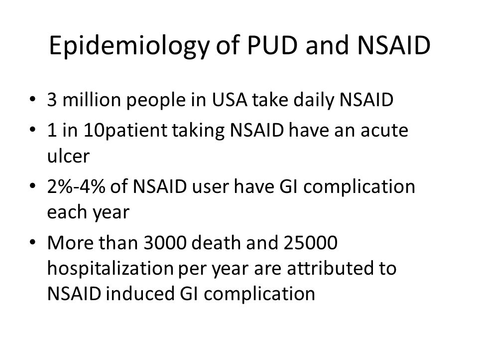 Epidemiology of PUD and NSAID