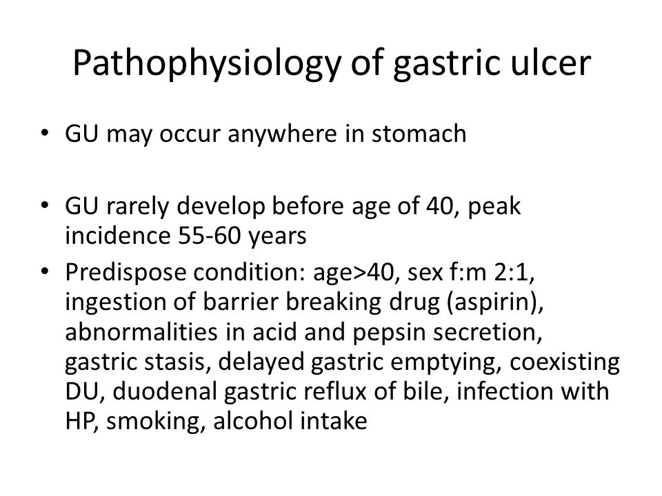 Pathophysiology of gastric ulcer