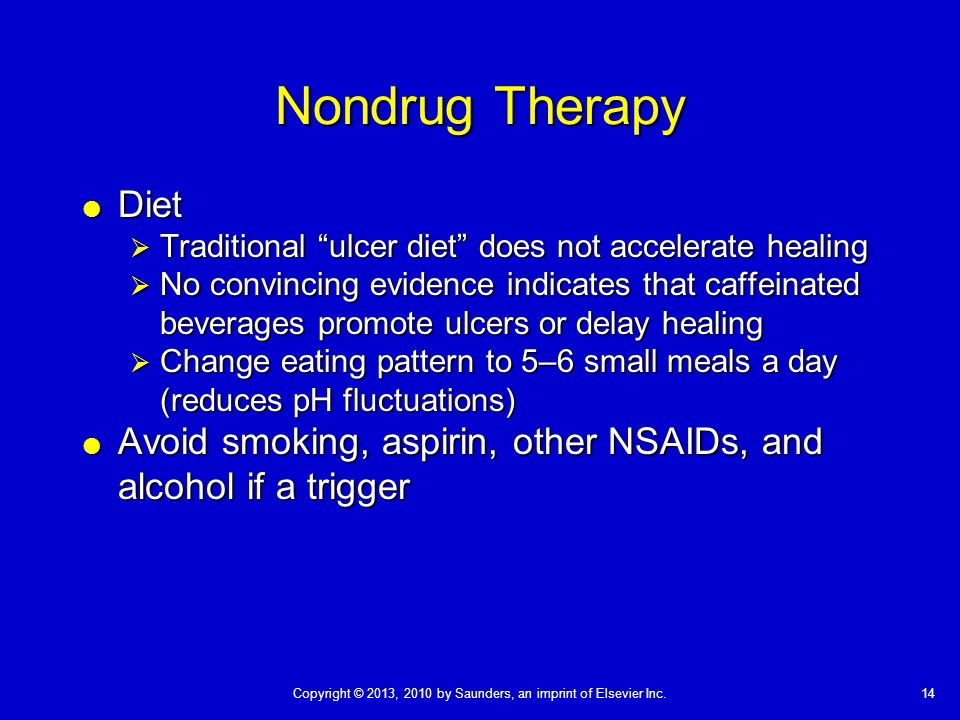 Nondrug Therapy Diet. Traditional ulcer diet does not accelerate healing.