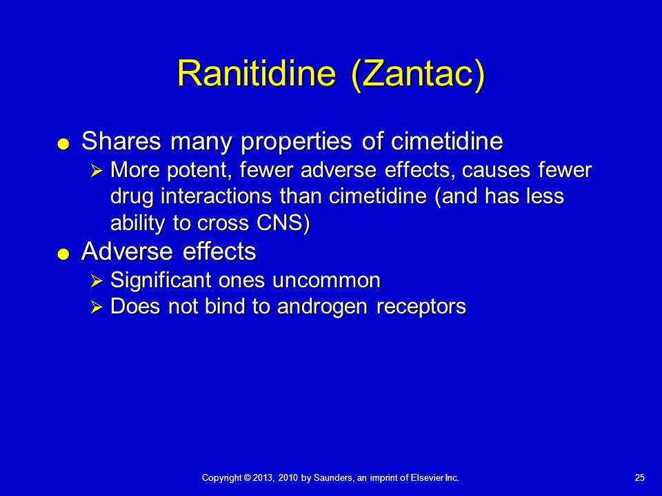 Ranitidine (Zantac) Shares many properties of cimetidine