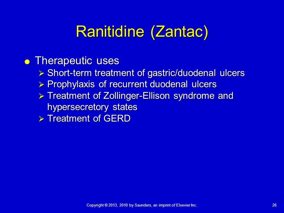 Ranitidine (Zantac) Therapeutic uses