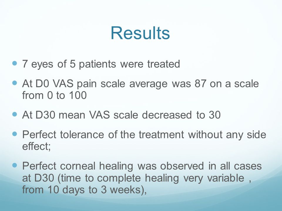 Results 7 eyes of 5 patients were treated